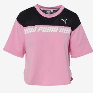 PUMA DAMEN MODERN Sports Logo Tee DryCell T Shirt schwarz